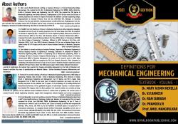 Cover for Definitions for Mechanical Engineering Textbook - Volume1